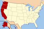 California, Washington, Alaska, Hawaii, Oregon