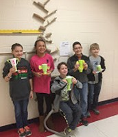 PES - 2nd Grade Designed Trophies and tested marble runs here is the winning 5th grade team with their trophies
