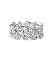 Deco stackable band rings, size 8