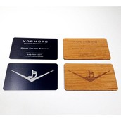 Black Metal Laser Engraved Wood Business Cards Motorcycle Company