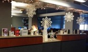 The Media Center gets a wintry new look, thanks to super parent volunteer Ms. McGee.