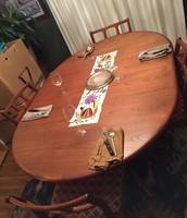 Mid Century Teak table w/ leaf for 6