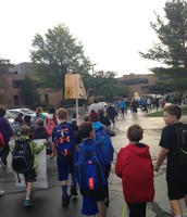 5th Grade Participates in Hopkins' National Walk to School Day!