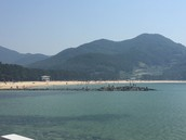 View of our beach where we camped on Namhae Island