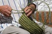 Grass basket weaving