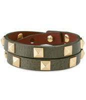 Green Pyramid Leather Wrap Bracelet