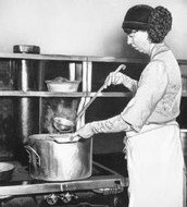 The wife of president working in soup kitchen