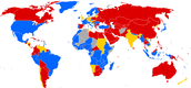 World map of travel & residence restrictions against people with HIV/AIDS