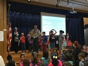 Mr. Yeager's 3rd grade Panthers lead us in the pledges at morning assembly!