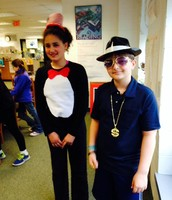 Fourth graders dressed up for the Character Parade