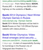 "Cell Phone Search on ""Sochi"" (Web Sector"
