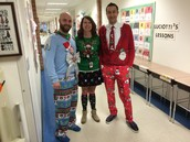 Ugly sweater day...Mr. Carroll came in 2nd!