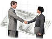 Two bankers shaking hands
