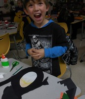 Gabe is excited about his art project!