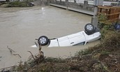 A white truck stuck in a flood in sc
