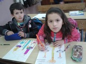 Little sister and brother 2nd grade also working very hard on the children's rights