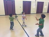 Practicing our balancing skills.