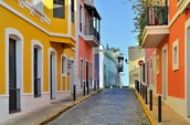 The colorful houses in Puerto Rico