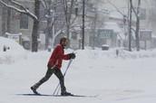 Man skis down streets of Boston.