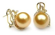 Gold Pearl Earrings from the South Seas