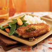 Entree- Wasabi and Panko- Crusted pork with Gingered Soy Sauce