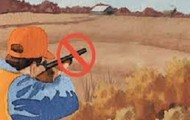 This is showing a hunter safety rule that states, don't shoot unless you know whats behind what you are shooting at.