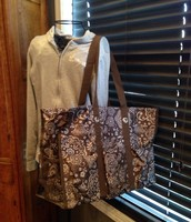 Super Organizing Tote - Brown Woodblock Floral