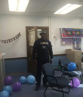Mr. Gadson enjoying his office decorated for his 50th Birthday!