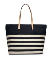 Hudson Tote Large (Cream/Black Stripe)