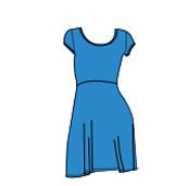 A-Line Dress - Blue - Size L