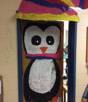 The finished Penguin on the classroom door