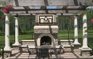 Relax near the pool by the outdoor fireplace!