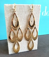 SOLD Gold Teardrop Statement Earrings - $20