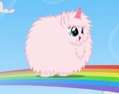 Fluffy unicorn on rainbow road