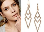 Pave Spear Earrings Rose Gold