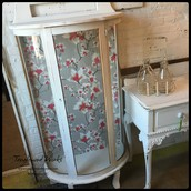 $345 - White & Curved Glass Curio Cabinet with Shelves