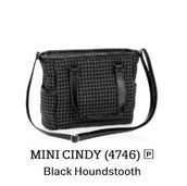 Mini Cindy Tote in Black Houndstooth