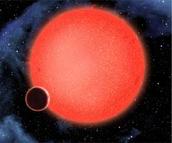 GJ 1214b is the small black dot orbiting its Host Star.