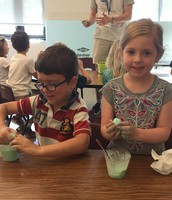 Claire and Dylan making their slime!