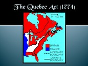America and Canada map of Quebec Act