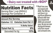 A milk carton with milk not treated with rBGH.