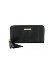 SOLD Mercer Zip Wallet - Black Basketweave Leather