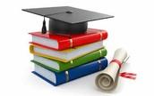 Books, cap and diplomas