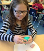 Julia enjoying her green eggs and ham