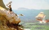 Polyphemus blindly throwing rocks at Odysseus's ship