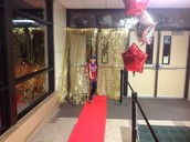 Red Carpet Entrance at Family Math & Literacy Night