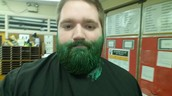 Mr. Gealta gets his beard dyed green!