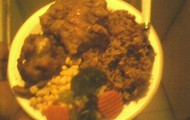 Peas and Rice with Baked Turkey, Corn and Veggies