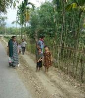 Walking through village