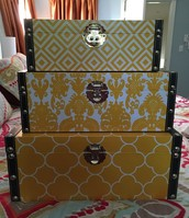 3 stacking nesting yellow boxes $40